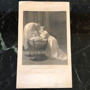 The Mother's Prayer - Antique Engraving/Print